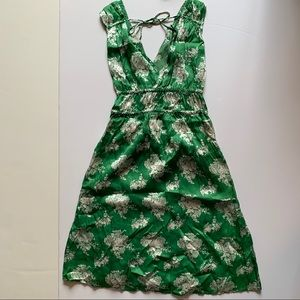 Anthropology Porridge Green Silk Dress